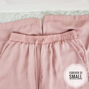 Small Forever 21 Pink Flowy Silky Pants
